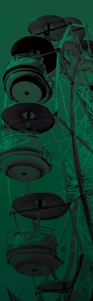Green tinted image of a ferris wheel